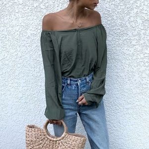 Fifth square neck blouse Olive green M